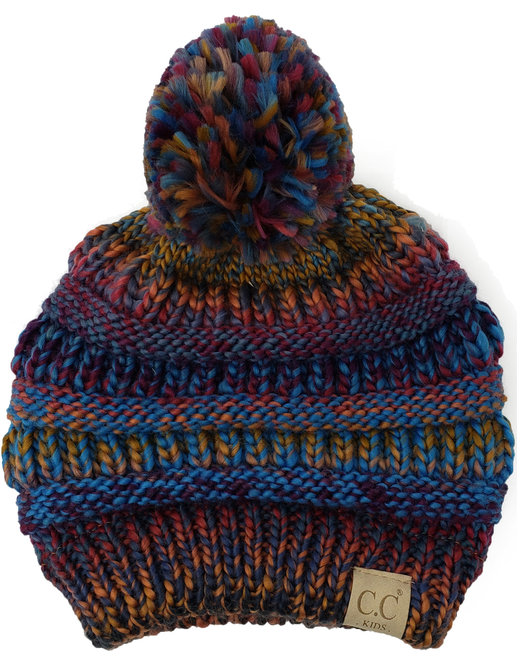 C.C. Kid's Classic Fit Cable Knit Beanie W/ Pom - Multi Mix