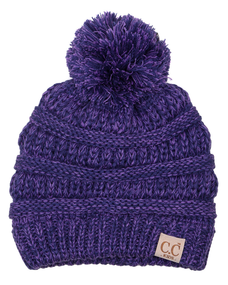 C.C. Kid's Classic Fit Cable Knit Beanie W/ Pom - 2-Tone
