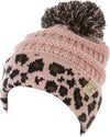 C.C. Kid's Classic Fit Cable Knit Beanie W/ Pom - Leopard