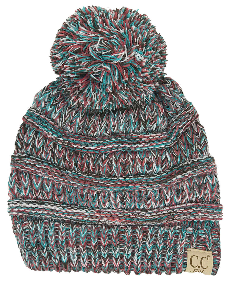 C.C. Kid's Classic Fit Cable Knit Beanie W/ Pom - 4-Tone