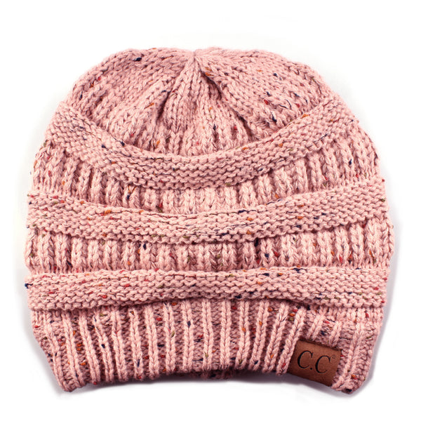 FUNKY JUNQUE's CC Confetti Knit Beanie - Thick Soft Warm Winter Hat - Unisex - Indi Pink