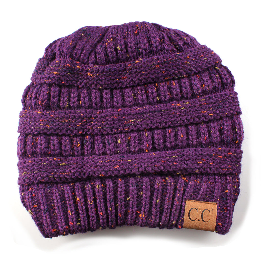 FUNKY JUNQUE's CC Confetti Knit Beanie - Thick Soft Warm Winter Hat - Unisex - Purple