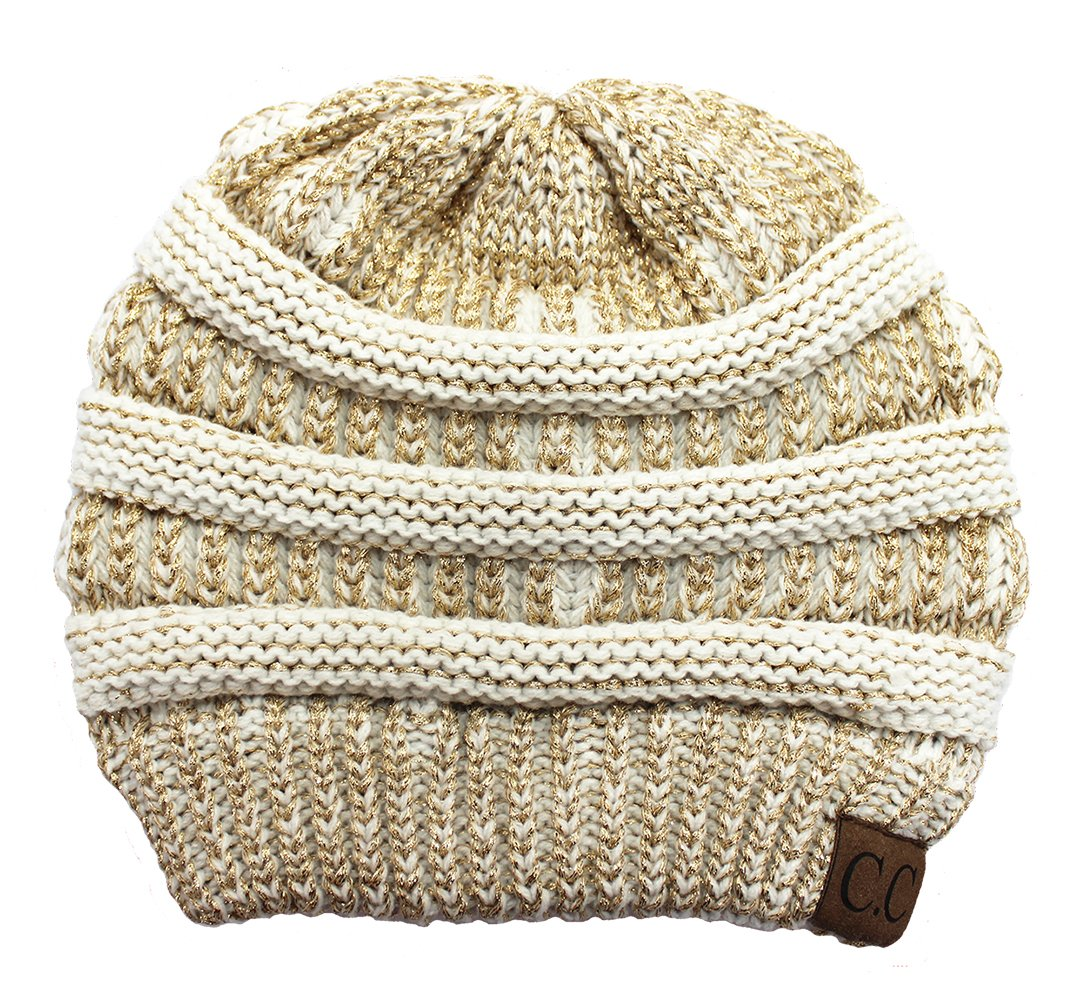 C.C Classic Fit Beanie - Ivory & Metallic Gold