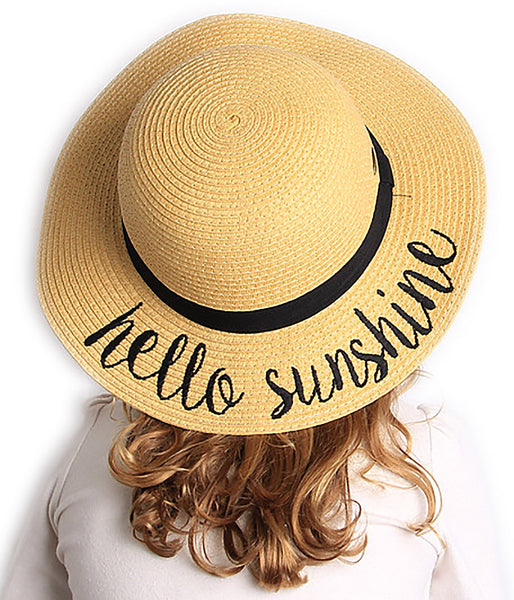 C.C Girls Embroidered Sun Hat - Hello Sunshine (Natural)