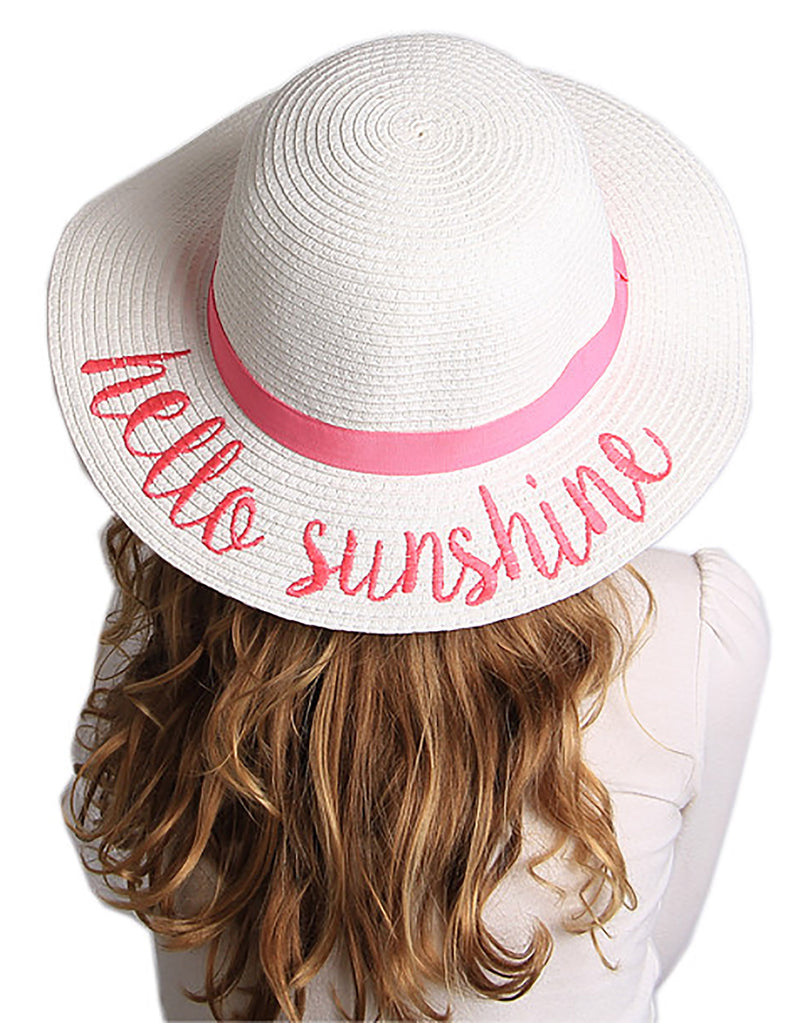 C.C Girls Embroidered Sun Hat - Hello Sunshine (White)