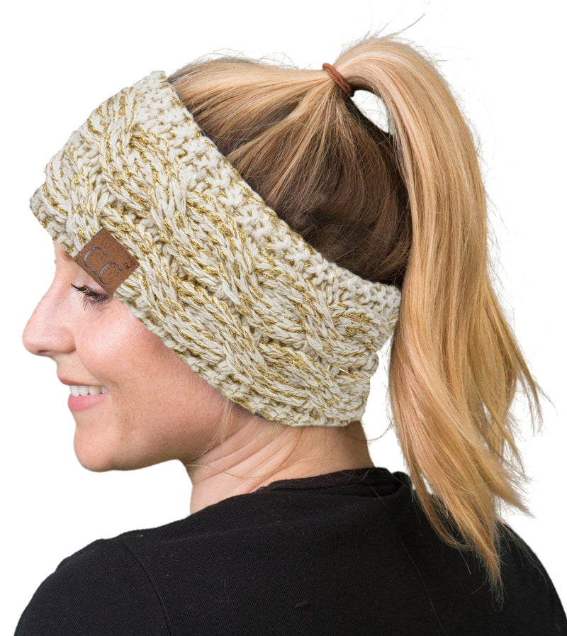 C.C. Cable Knit Lined Winter Headband - Metallic