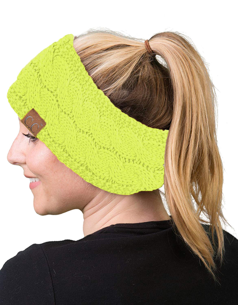 C.C. Cable Knit Lined Winter Headband - Neon