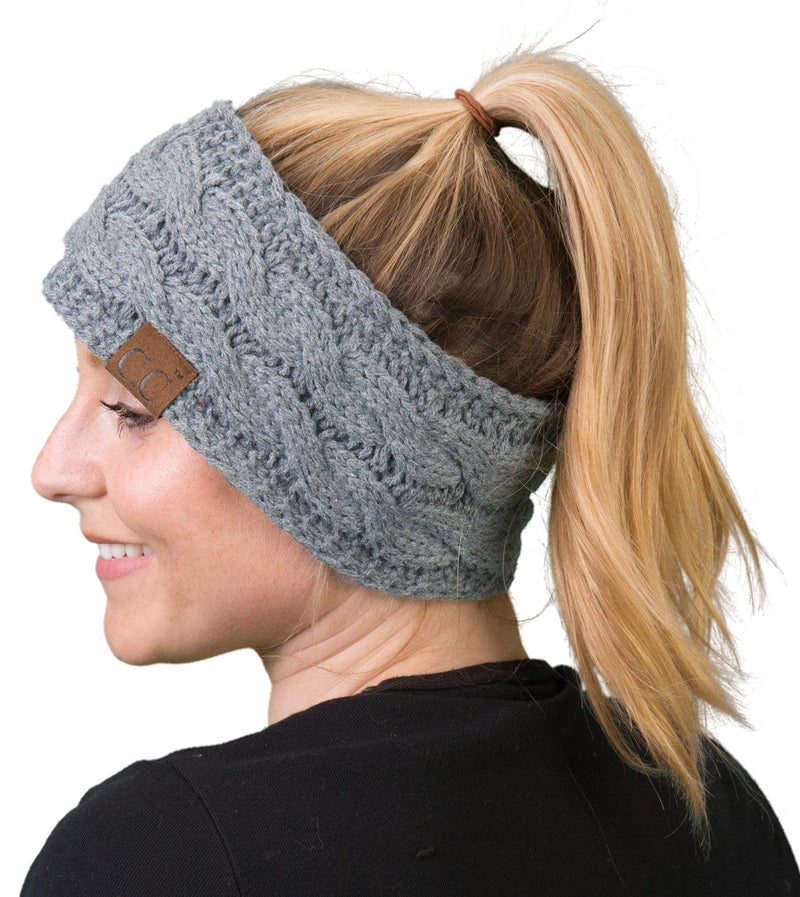 C.C. Cable Knit Lined Winter Headband - Solid Colors