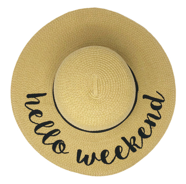 C.C Embroidered Sun Hat - Hello Weekend