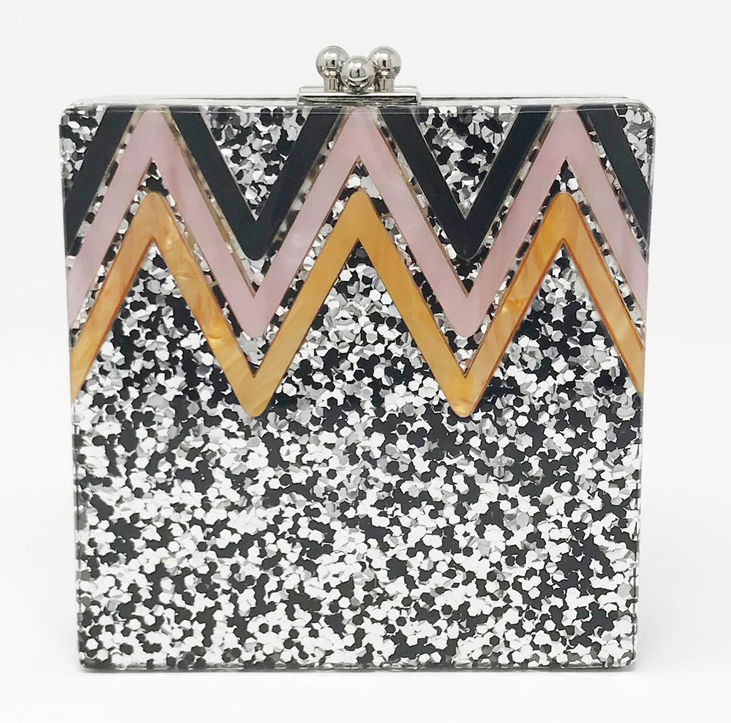 Funky Junque's Evening Purse - Chevron Square (Silver)