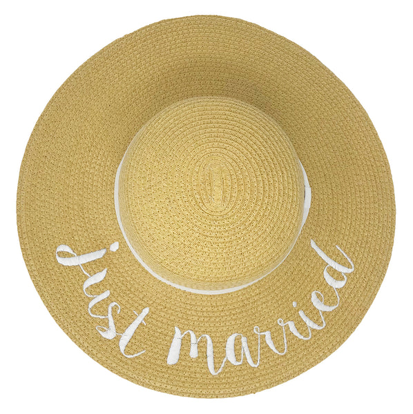 C.C Embroidered Sun Hat -Just Married (Natural Hat with White Lettering)