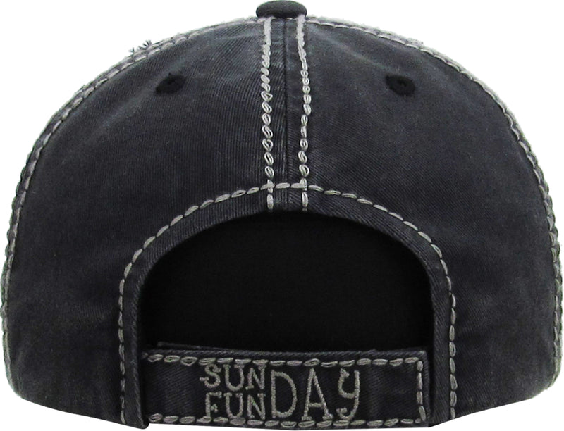Distressed Patch Baseball Cap - Sunday Fun Day (Black)