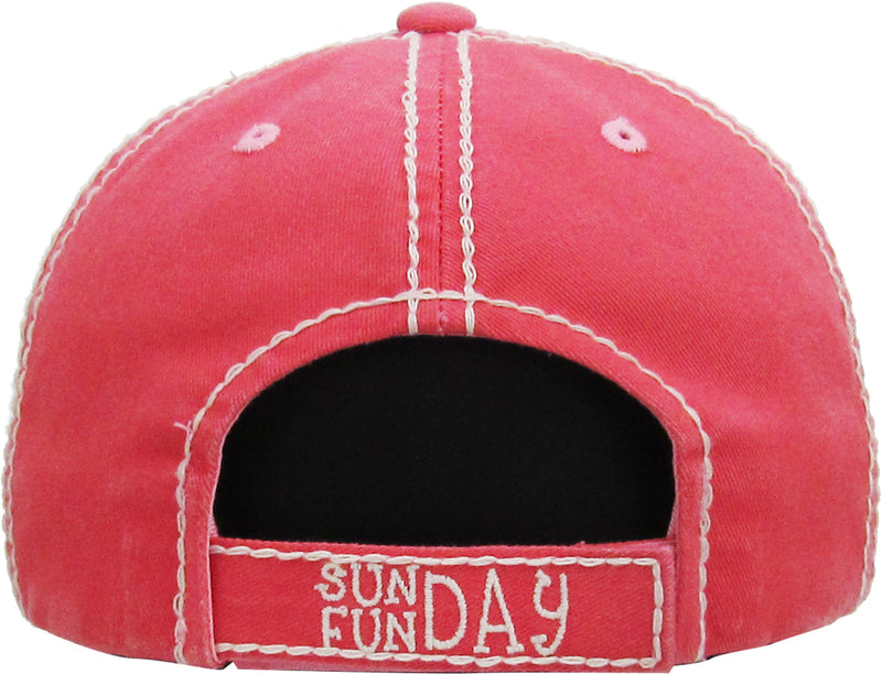 Distressed Patch Baseball Cap - Sunday Fun Day (Coral)