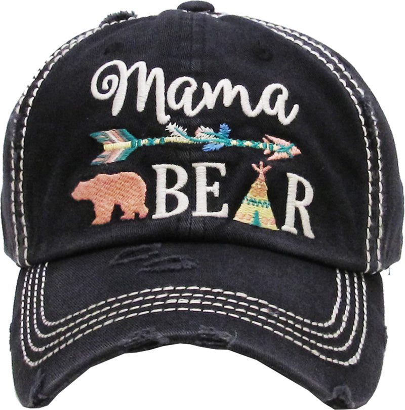 Distressed Patch Baseball Cap - Mama Bear (Black)