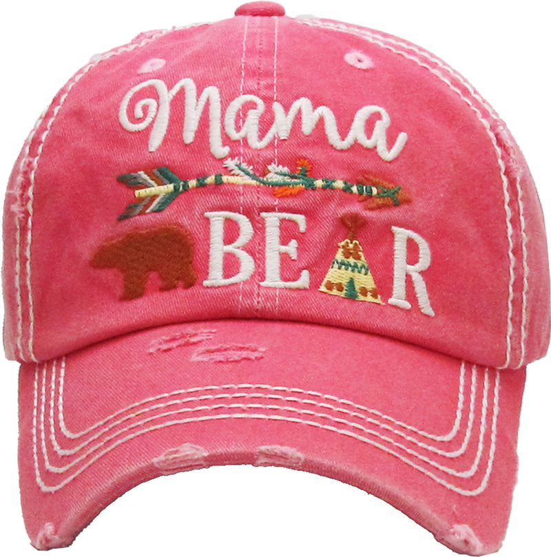 Distressed Patch Baseball Cap - Mama Bear (Pink)