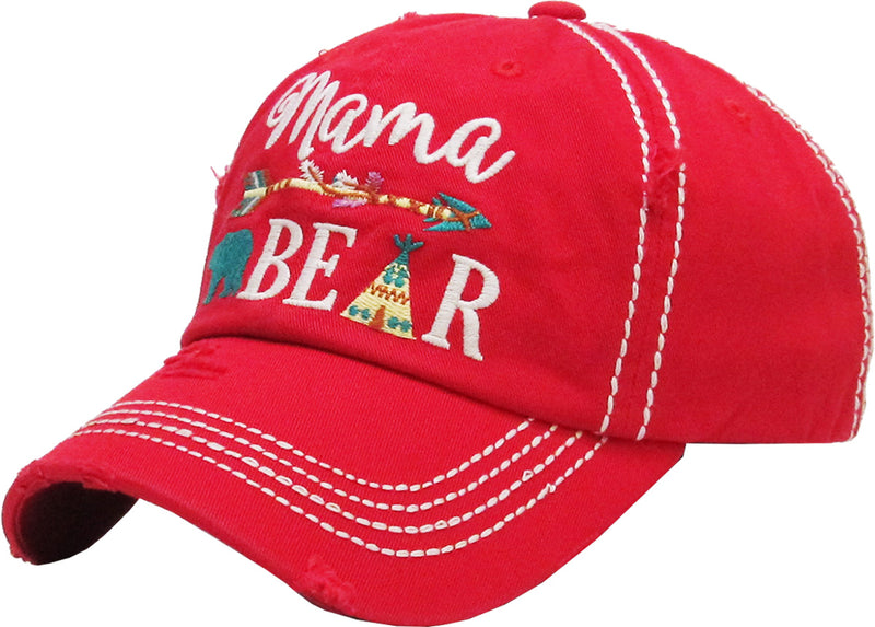 Distressed Patch Baseball Cap - Mama Bear (Red)