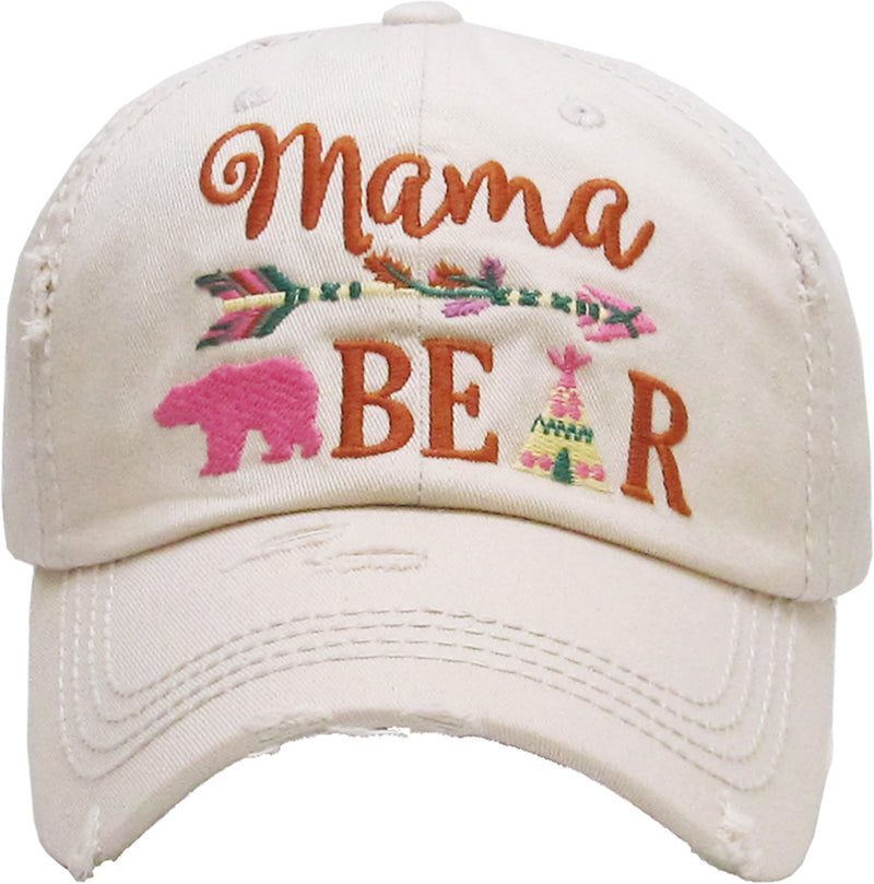 Distressed Patch Baseball Cap - Mama Bear (Beige)