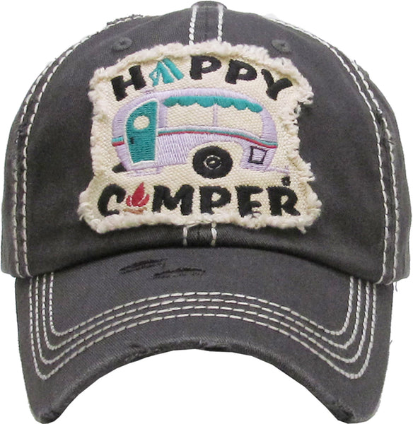 Distressed Patch Baseball Cap - Happy Camper in Block Letters (Dark Grey)