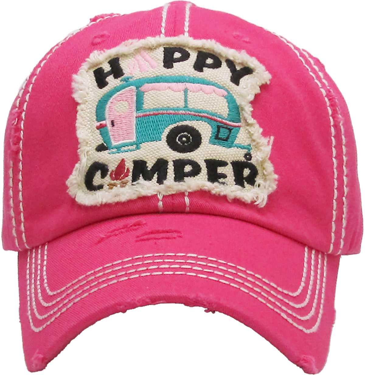 b3a0968bed2e8 Distressed Patch Baseball Cap - Happy Camper in Block Letters (Hot Pin –  FUNKY JUNQUE