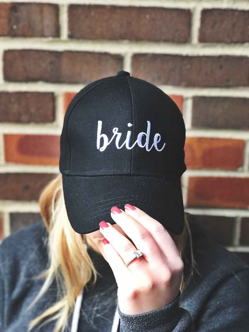 C.C Embroidered Baseball Cap - Bride (Black)