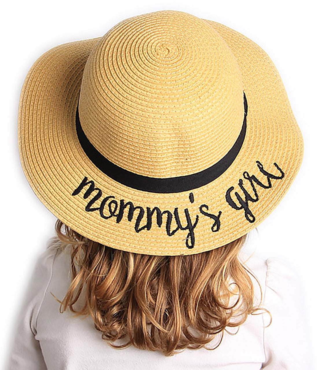 C.C Girls Embroidered Sun Hat - Mommy's Girl (Natural)