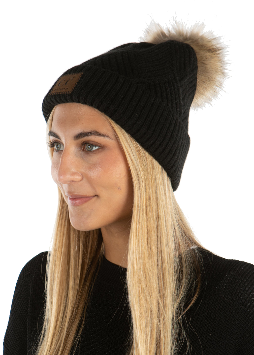 C.C. Faux Fur Pom Hat: Diagonal