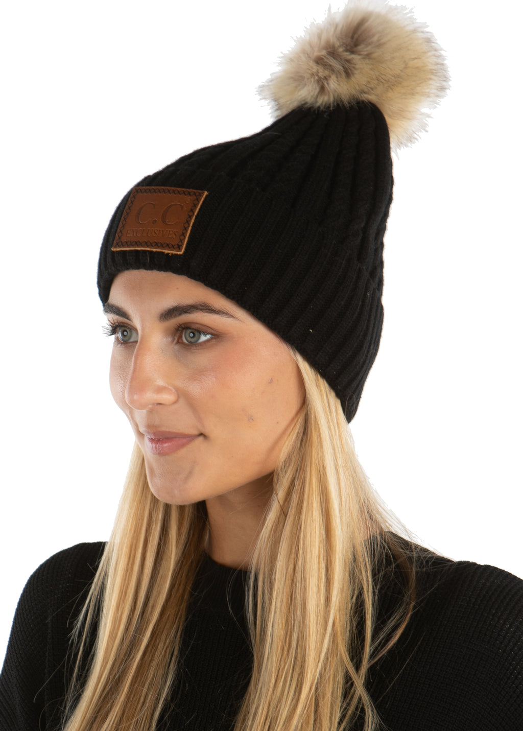 C.C. Faux Fur Pom Hat: Double Braided