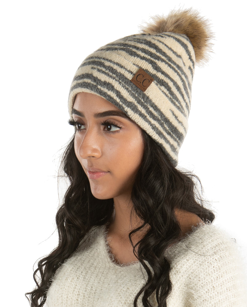 C.C. Faux Fur Pom Hat: Animal Print