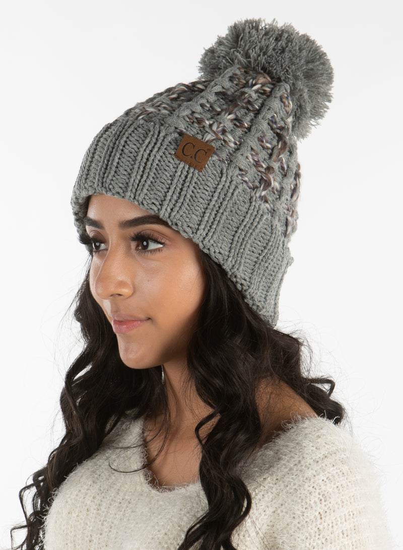 C.C. Chunky Knit Pom Hat: Slipstitch