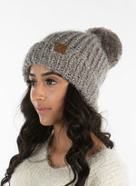 C.C. Chunky Knit Pom Hat: Feather