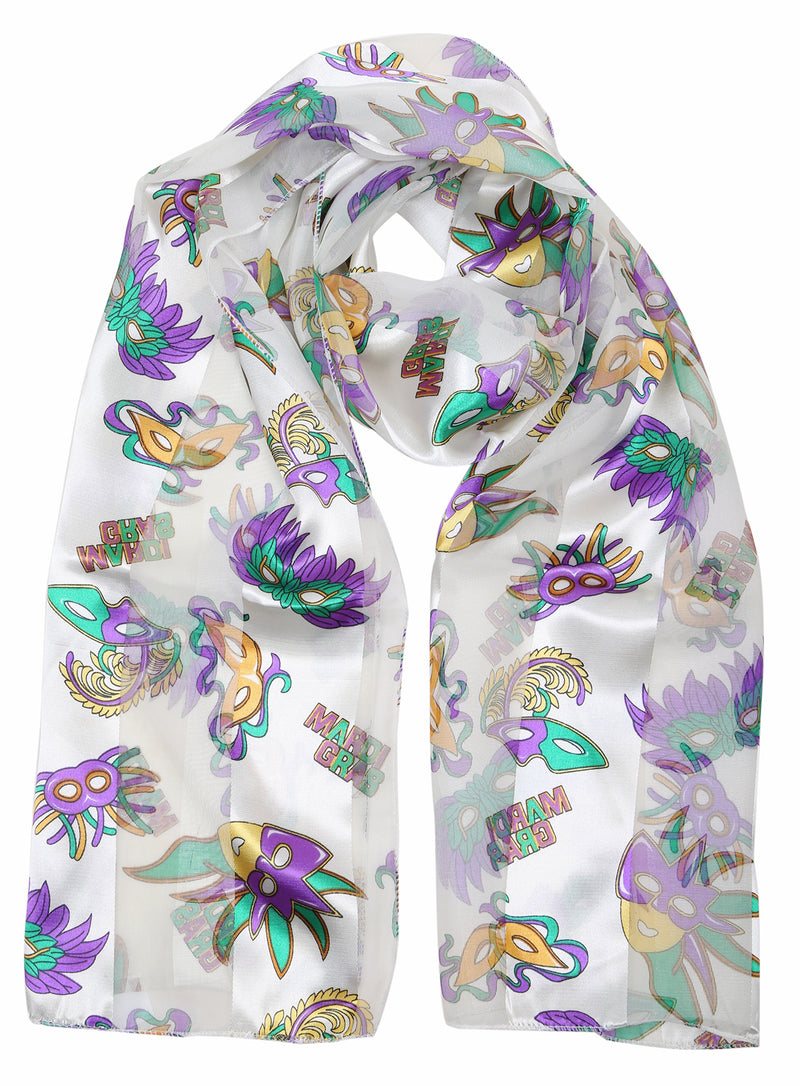 Funky Junque's Holiday Party Special Occasion Events Festive Silky Satin Scarves - Mardi Grad Ivory