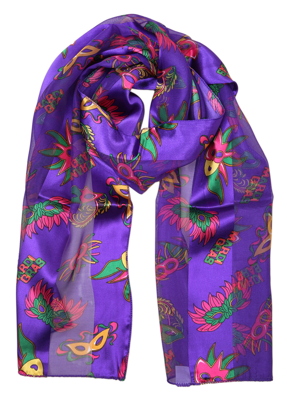 Funky Junque's Holiday Party Special Occasion Events Festive Silky Satin Scarves - Mardi Gras Purple