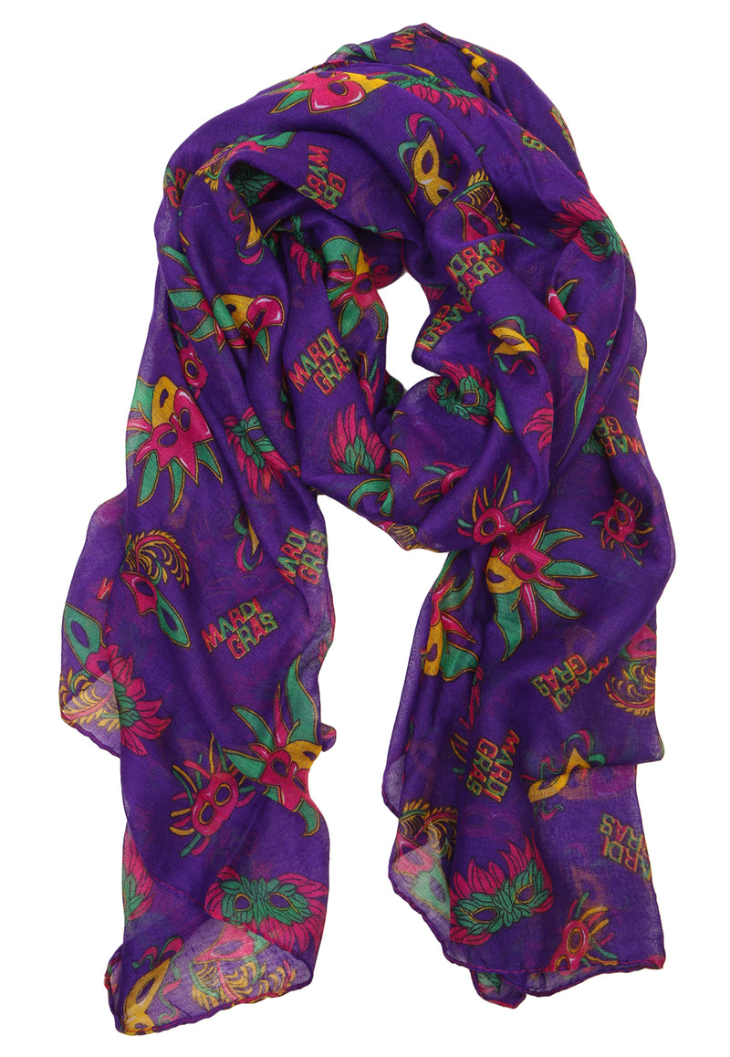 Funky Junque's New Orleans Party Mardi Gras Masquerade Mask Oblong Costume Scarf - Purple