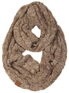 C.C. Cable Knit Infinity Scarf - Tricolor Mix