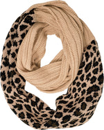 C.C. Cable Knit Infinity Scarf - Leopard