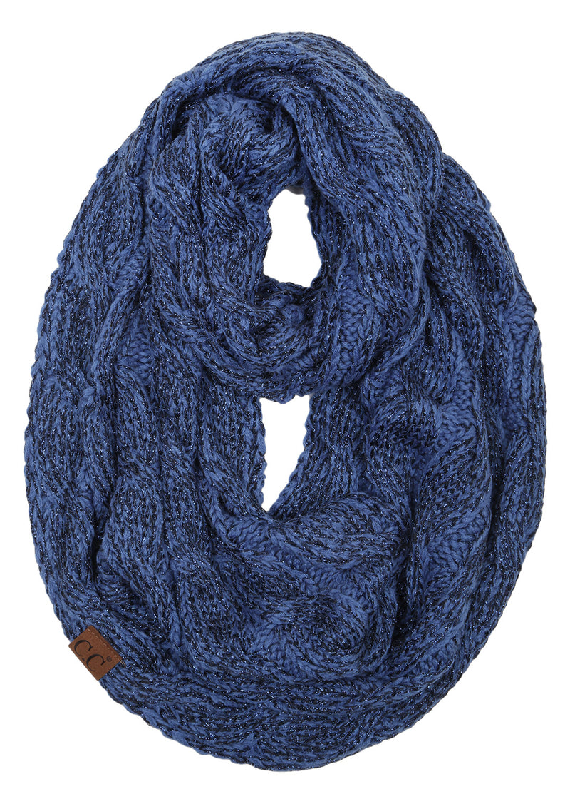 C.C. Cable Knit Infinity Scarf - Metallic