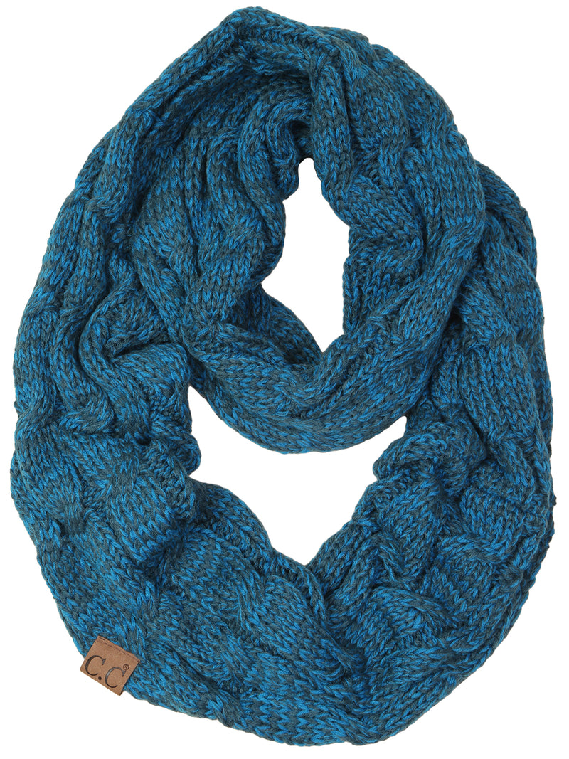 C.C. Cable Knit Infinity Scarf - 2 Tone