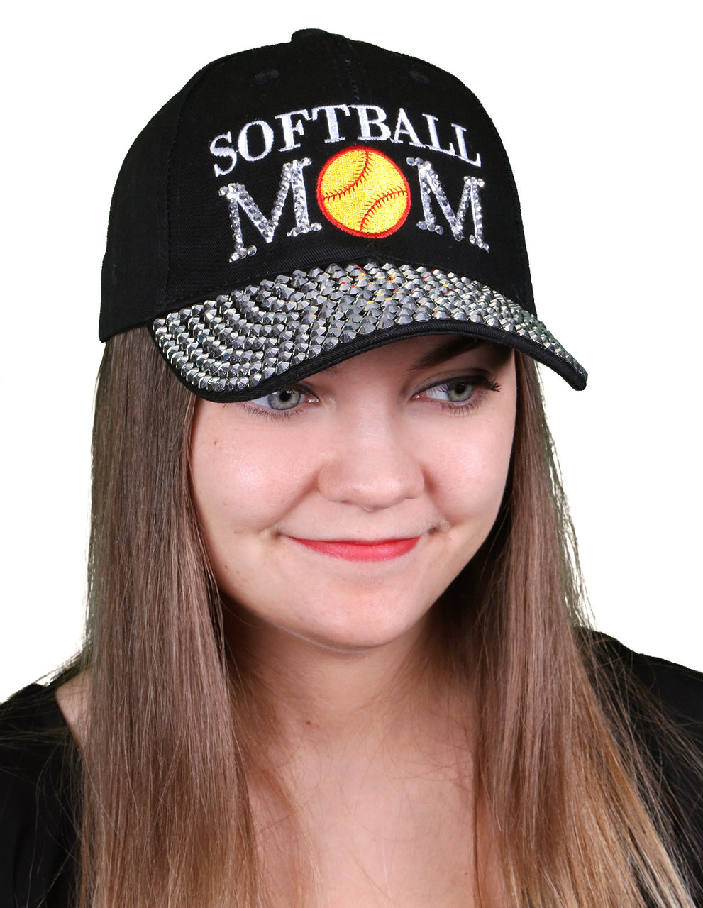 Funky Junque's Women's Silver Rhinestone Bill Sports Mom Bling Baseball Cap Hat - Softball Black