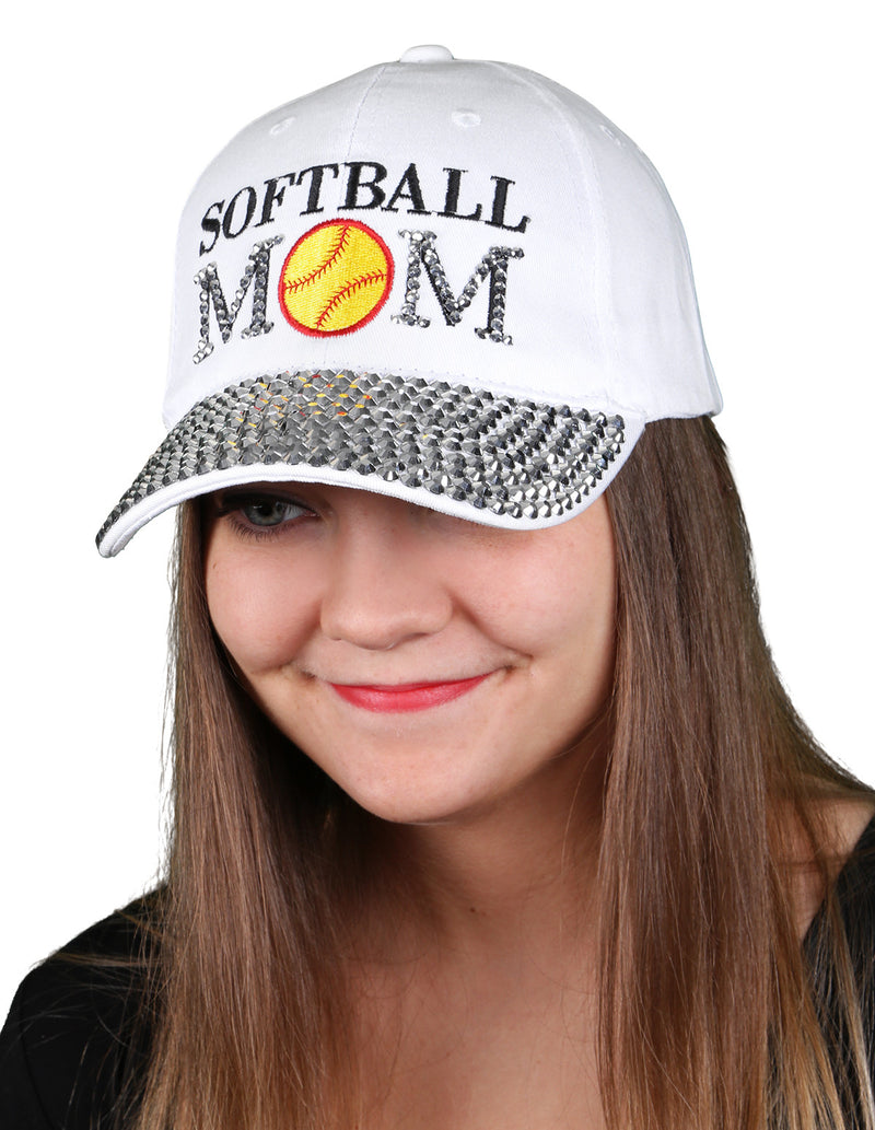 Funky Junque's Women's Silver Rhinestone Bill Sports Mom Bling Baseball Cap Hat - Softball White