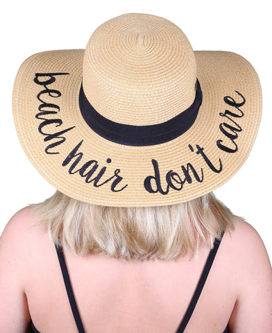 Funky Junque's Women's Bold Cursive Embroidered Adjustable Beach Floppy Sun Hat - Beach Hair Don't Care