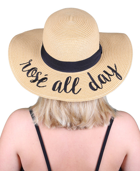 C.C Embroidered Sun Hat - Rosé All Day