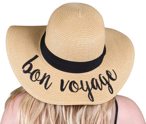 Funky Junque's Women's Bold Cursive Embroidered Adjustable Beach Floppy Sun Hat - Bon Voyage