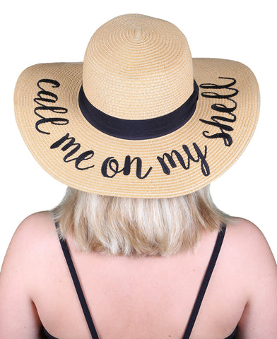 Funky Junque's Women's Bold Cursive Embroidered Adjustable Beach Floppy Sun Hat - Call Me On My Shell