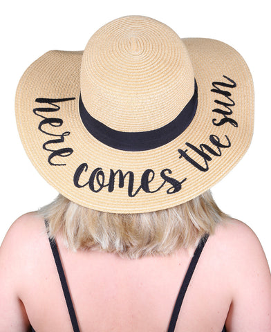 Funky Junque's Women's Bold Cursive Embroidered Adjustable Beach Floppy Sun Hat - Here Comes the Sun