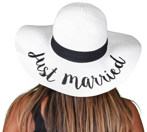 Funky Junque's Women's Bold Cursive Embroidered Adjustable Beach Floppy Sun Hat - Just Married White