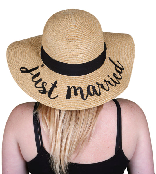 C.C Embroidered Sun Hat - Just Married (Natural Hat with Black Lettering)