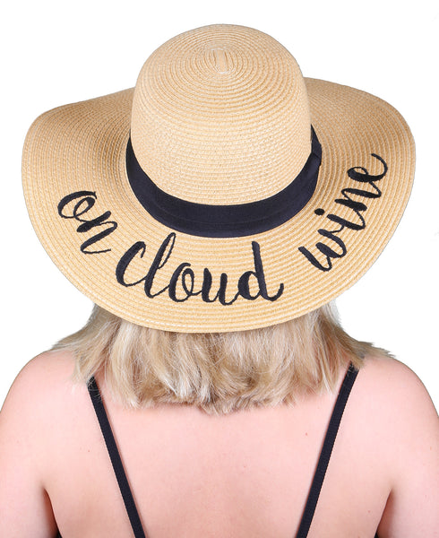 C.C Embroidered Sun Hat - On Cloud Wine