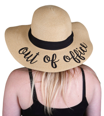 Funky Junque's Women's Bold Cursive Embroidered Adjustable Beach Floppy Sun Hat - Out of Office