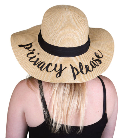 Funky Junque's Women's Bold Cursive Embroidered Adjustable Beach Floppy Sun Hat - Privacy Please