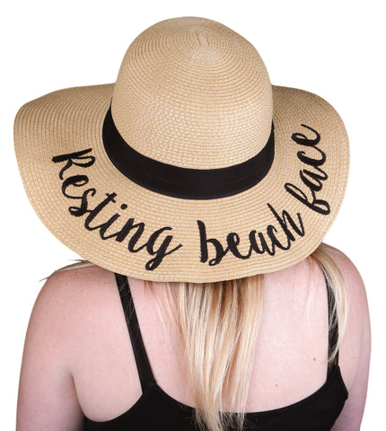 Funky Junque's Women's Bold Cursive Embroidered Adjustable Beach Floppy Sun Hat - Resting Beach Face